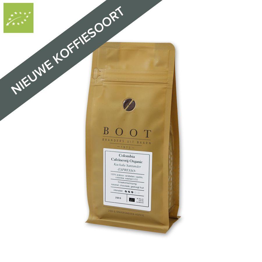 Boot Colombia Cafeïnevrij Organic Espresso 250 gr