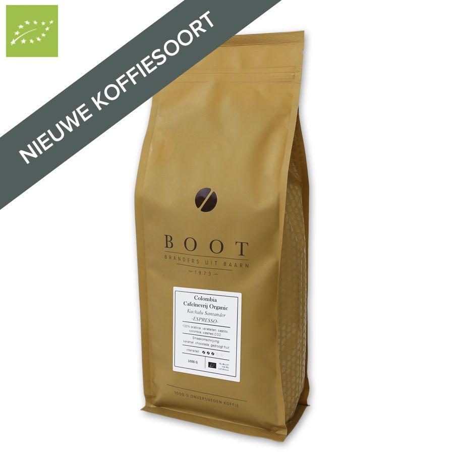 Boot Colombia Cafeïnevrij Organic Espresso 1000 gr.